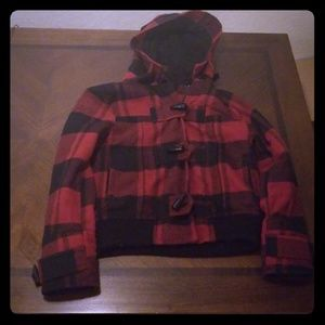 Forever 21 Small plaid hooded jacket
